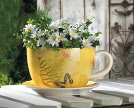 Hugh Yellow Butterfly Theme Teacup & Saucer Planter Drain Hole Bottom of... - $37.57