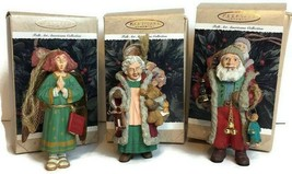 Hallmark Keepsake Folk Art Americana Ornament 1996 Lot 3 Santa Mrs Claus Angel - $9.77