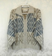 Vintage London Fog Cardigan Sweater Size XL Blue Beige Zipper Pockets  - $16.82