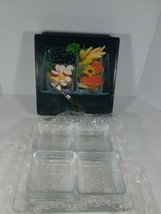 Vintage Mid Century Mikasa Crystal Divided Relish Appetizers Serving Dish - $22.65