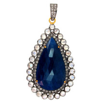 Sapphire Gemstone 14 K Gold Pave Diamond 925 Silver Pendant Vintage Look Jewelry - $558.09