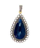 Sapphire Gemstone 14 K Gold Pave Diamond 925 Silver Pendant Vintage Look... - $558.09