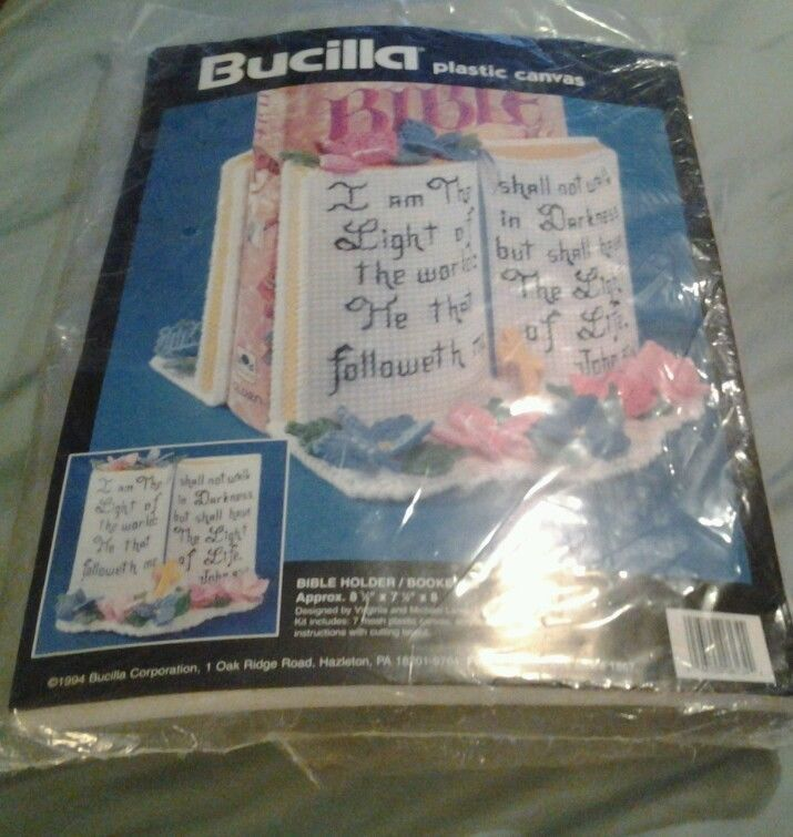 Primary image for Bucilla # 6134 Bible Holder Bookends Plastic Canvas Kit New