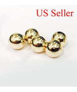 1pc 14k solid yellow gold 11 mm round polish loose  bead 11MM  Hole size... - $64.35