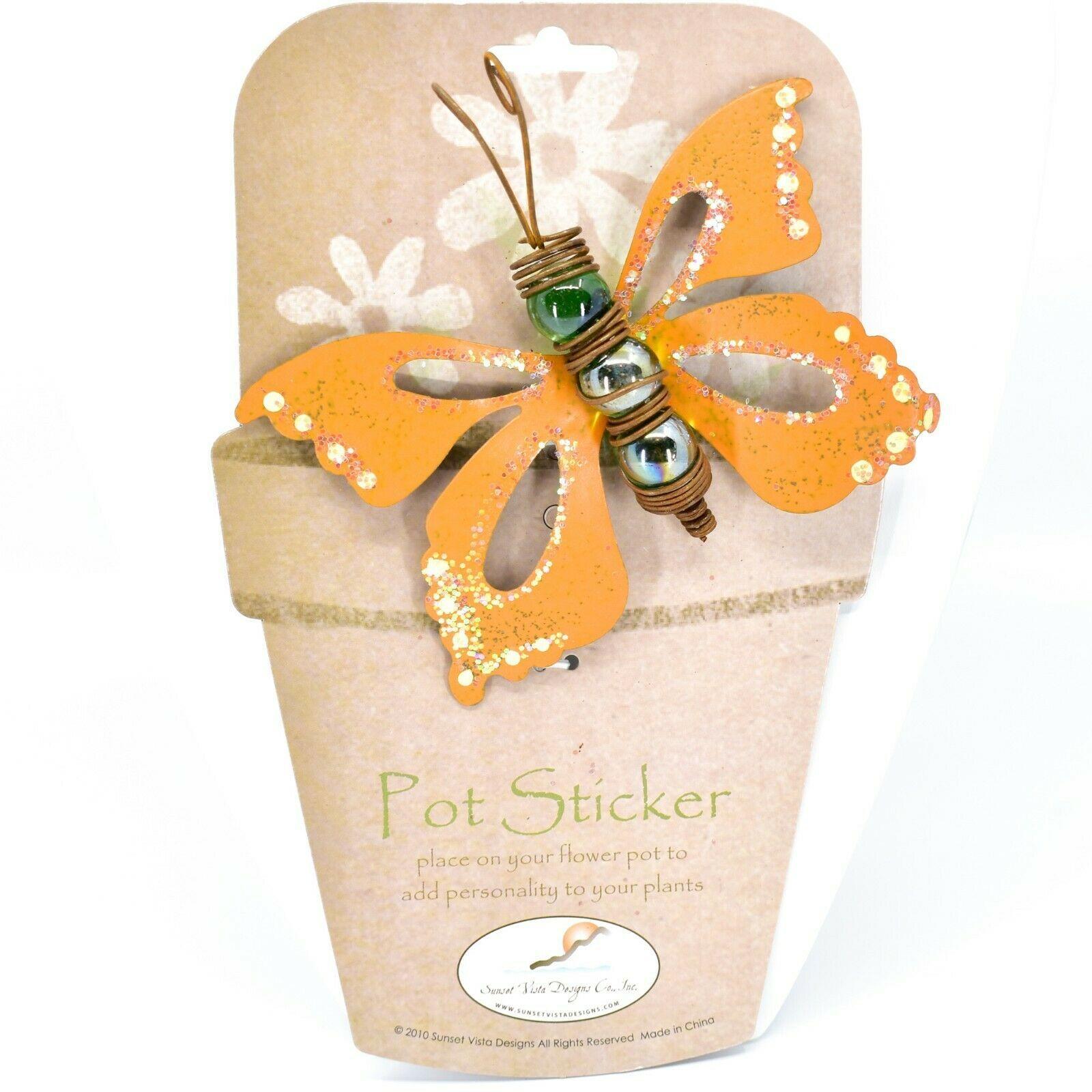 Orange Glitter Butterfly Metal & Glass Ball Garden Pot Sticker Decoration