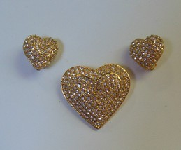 Joan Rivers Signed Large Heart Brooch and Clip Earrings Pave Crystal - $64.35