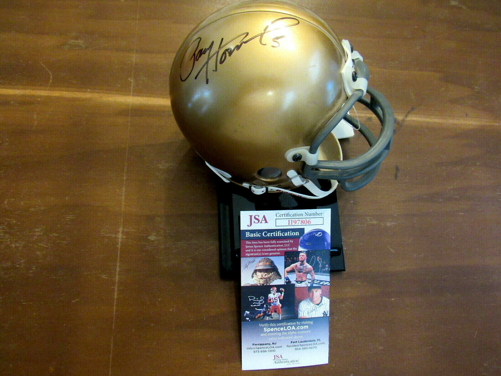 Primary image for PAUL HORNUNG # 5 NOTRE DAME IRISH HEISMAN SIGNED AUTO MINI RIDDELL HELMET JSA
