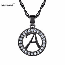 Black Inital Letter A Necklace Round Charm With 22' Twisted Curb Chain P... - $31.20