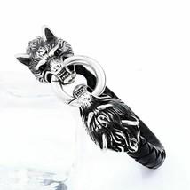 Stainless Steel Wolf Head Thor Hammer Men Leather Bracelet Viking King Jewelry - $16.99