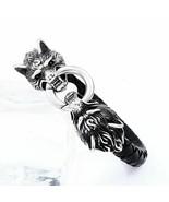 Stainless Steel Wolf Head Thor Hammer Men Leather Bracelet Viking King J... - $18.97