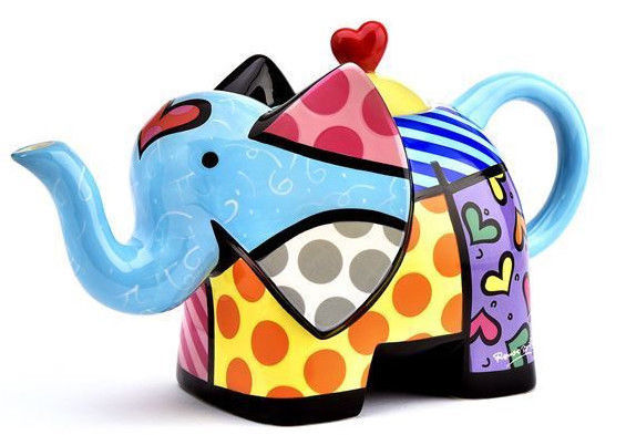 Romero Britto Ceramic Teapot - Elephant Design 60oz size #334494