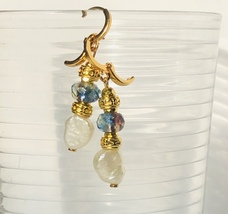 Pearl , Vermeil Gold And Czech Glass Drop Earrings - €22,71 EUR