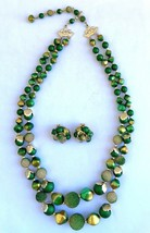 Vintage Mid-Century Demi Parure Necklace & Clip-on Earring Set - Green &... - $28.69