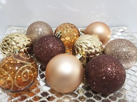 "Fall Thanksgiving Christmas Brown Gold Amber Glitter Ball Ornaments 2.5""... - $11.99"