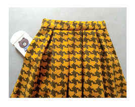 Winter Yellow Houndstooth Skirt Women Houndstooth Midi Pleated Skirt Wool Plus image 5