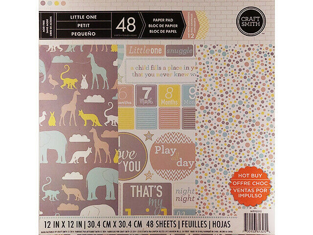 """Craft Smith Little One 12x12"""" Cardstock Paper Pad, 48 Sheets, Baby"""
