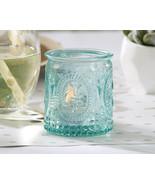 48 Vintage Embossed Aqua Blue Glass Tea Light Candle Holder Bridal Weddi... - $69.30