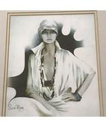 Vintage Sara Moon Framed Art Print Lisa  Glass Front Frame Matted - $249.00