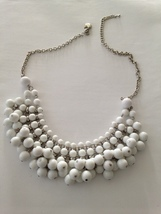 beautiful snowball white beaded cluster necklace - $24.99