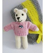 Pocket teddy bear Oluś/ teddy bear toy/soft toy/gift/unique/knitted/ tra... - $17.00