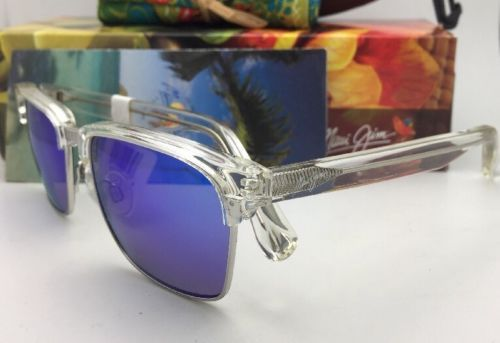 Polarized MAUI JIM Sunglasses KAWIKA MJ 257-05CR Crystal Frames with Blue Hawaii
