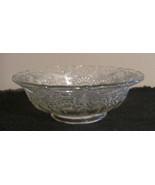 "Clear Cut Glass Thumbprint Serving Salad Bowl Wavey edge 9"" - $11.65"