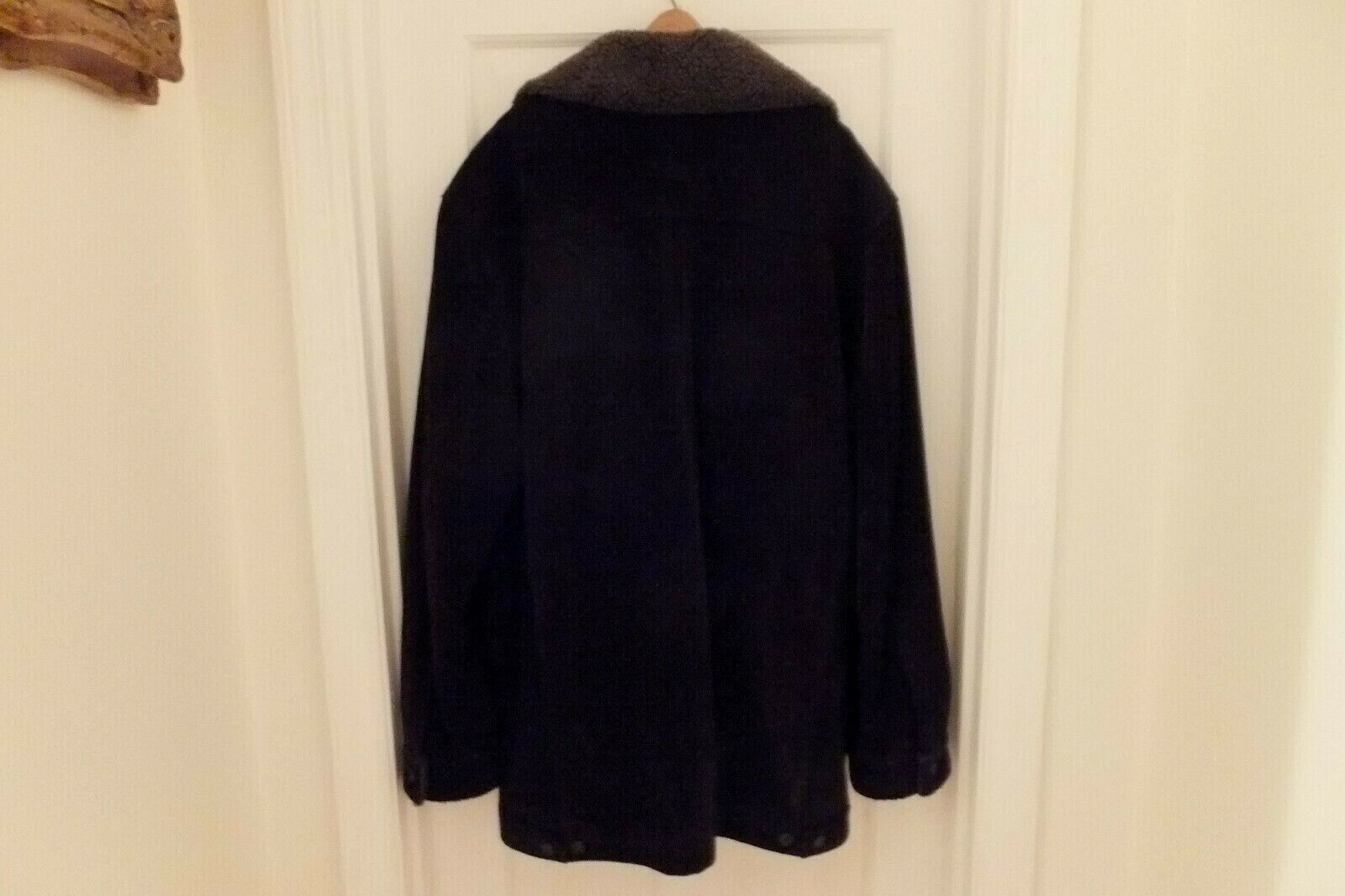 GAP Mens Suede Leather Coat Jacket Thick & Heavy Sherpa Lined Size XXL Dk Brown image 2