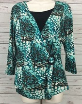 Notations Womens Sz Large Multicolor Top Pullover 2fer Faux Wrap Buckle ... - $14.50