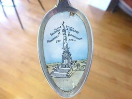 Old Indianapolis IN Enamel Soldiers Monument Sterling Silver Souvenir Spoon - $49.49