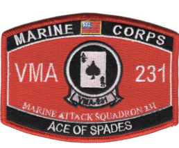 "4.5"" MARINE CORPS VMA 231 ATTACK SQUADRON ACE OF SPADES EGA EMBROIDERED ... - $16.24"