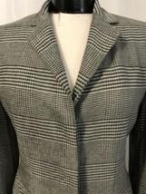 Anne Klein Women's Blazer Gray White Plaid Hidden Button Lined Size 4 NW... - $125.72