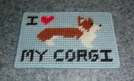 Brand New Red and White Corgi Love Needlepoint Sign For Dog Rescue Charity - $10.91