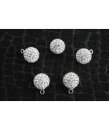 Sterling Silver 925 Swarovski Crystal, Pave Bead, Disco Ball, 10mm Penda... - $3.99