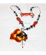 Copper Clown-Colorful Lampwork Fish and Apatite Gemstone Necklace and Ea... - $242.00