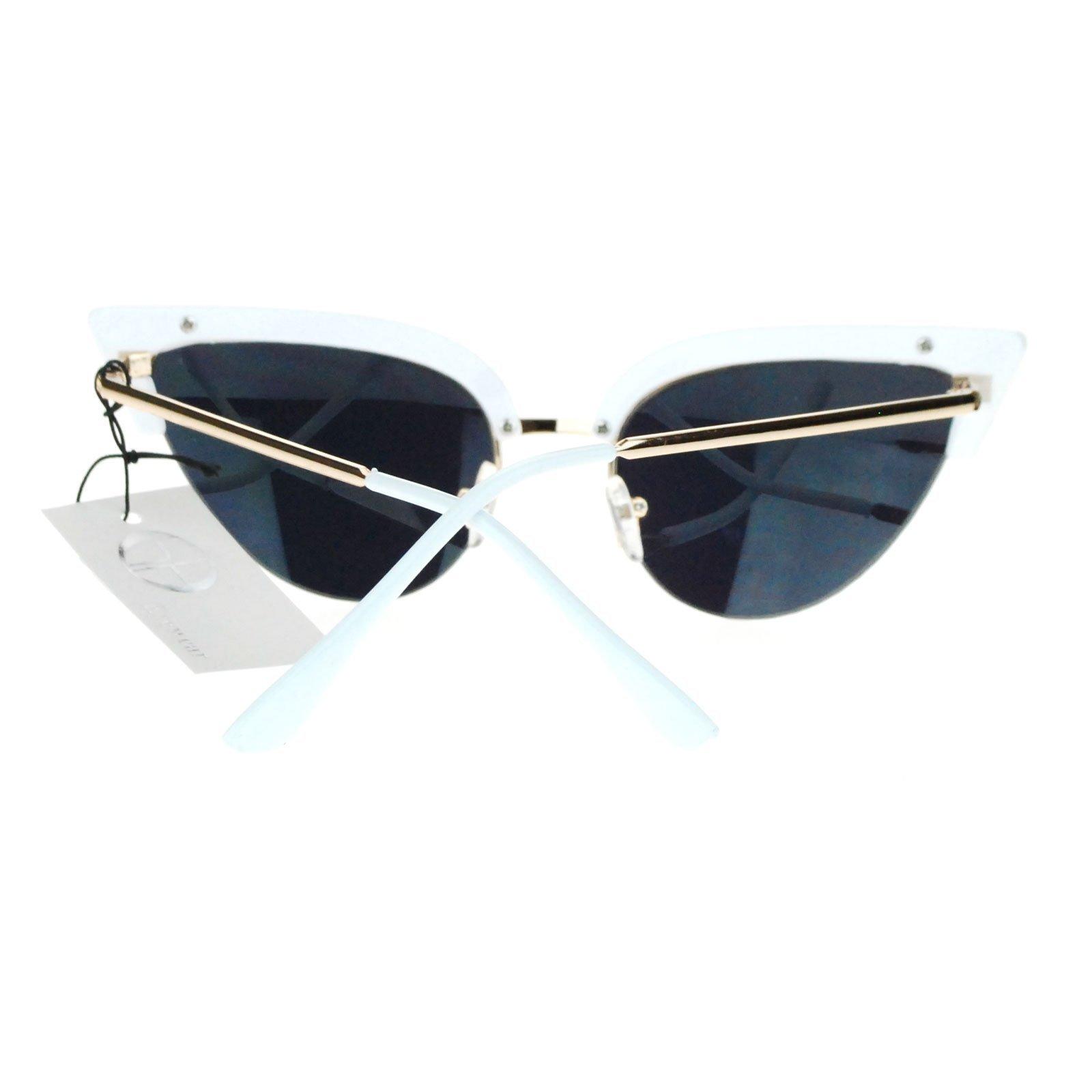 Womens Mod Half Rim Cat Eye 20s Retro Fashion Goth Sunglasses White Gold