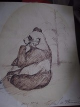 Vintage Hand Sketch Print of Panda Bear 1979 - $9.46