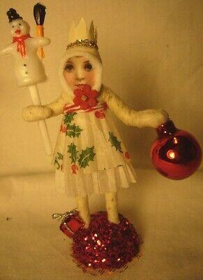 Vintage Inspired Spun Cotton Christmas Girl Ornament No. 83S