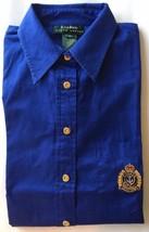 Lauren By Ralph Lauren Men Dress Shirt Blue Big Medallion Gold Button L/... - $25.71