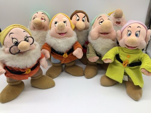 "Primary image for Disney Store Seven 7 Dwarfs From Snow White 11"" Plush Grumpy, Doc, Dopey, Sneezy"