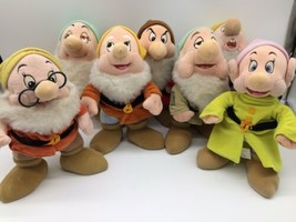 "Disney Store Seven 7 Dwarfs From Snow White 11"" Plush Grumpy, Doc, Dopey... - $44.95"