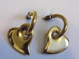 VTG Gold Tone Pair Heart Pierced Earrings Dangling Costume Fashion Jewelry - $10.09