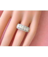ART DECO 1.08ctw BRILLIANT DIAMOND PLATINUM FANCY & UNIQUE 5-STONE RING ... - £2,270.61 GBP