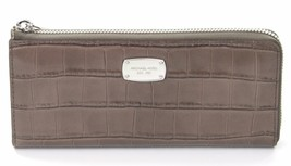 Michael Kors Bedford Grey Elephant Embossed Leather Purse Wallet RRP £155 - $139.41