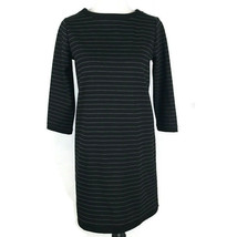 Ann Taylor Loft Dress Size S Small Black Striped Shift Dress Zipper Stretch - $17.35