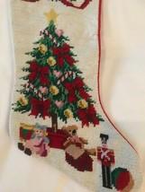 NEEDLEPOINT  CHRISTMAS TREE STOCKING,  Toys Mistletoe  eeuc - $11.88
