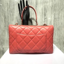 AUTHENTIC CHANEL CORAL RED QUILTED LAMBSKIN TRENDY CC 2 WAY HANDLE FLAP BAG GHW image 4