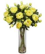Nearly Natural 1231-YL Giant Peony Silk Flower Arrangement, Yellow - $204.88