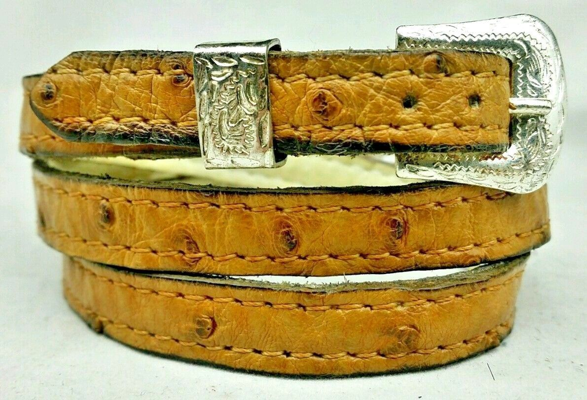 Genuine OSTRICH HATBAND Light BROWN #2 FULL QUILL Western BUCKLE Cowboy Hat Band