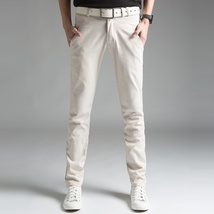 2018 Spring Thin Men's Trousers Long Slim Fit Pants Men 2018 Solid Male Casual P image 5