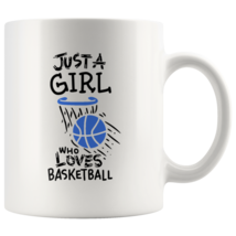 Just a Girl Who Loves Basketball 11oz Ceramic Coffee Mug Gift Blue Text - $19.95